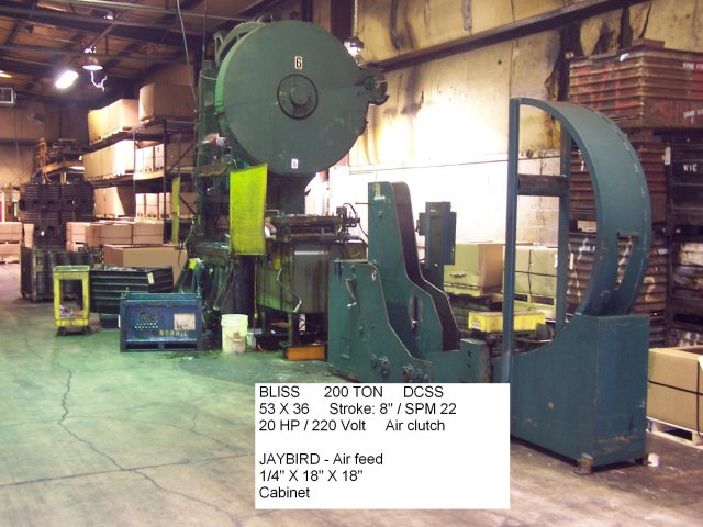 Bliss 200 Ton SSDC, Machine ID: 4324