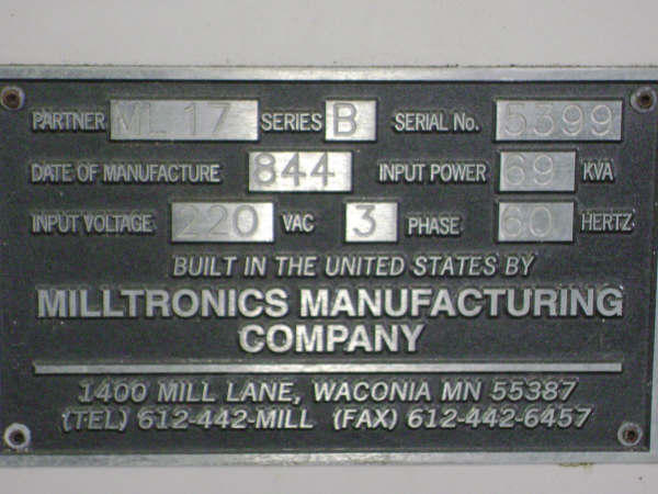 Milltronics ML-17B, Machine ID: 4658