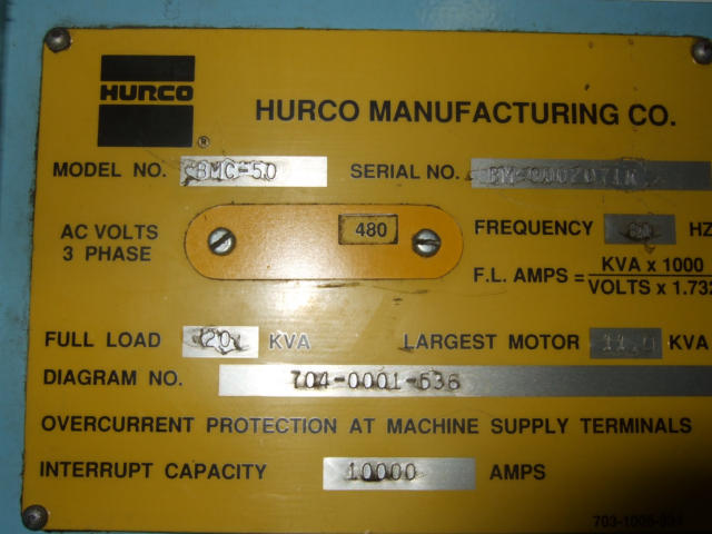 Hurco BMC-50, Machine ID: 5394