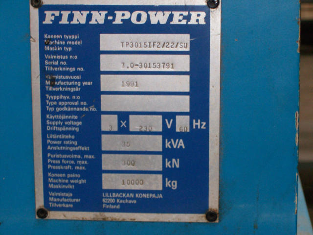 Finn Power TP3015, Machine ID: 5510