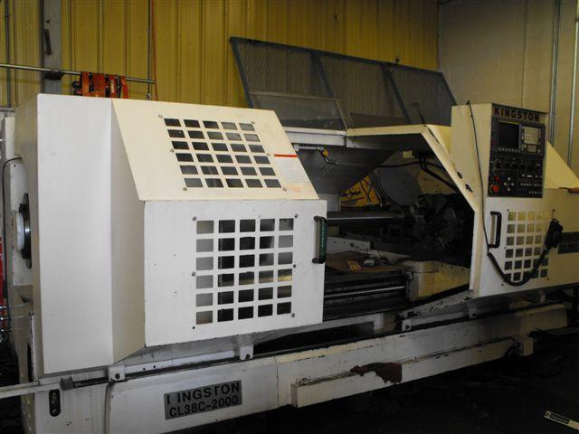 "Machine 5747, Kingston CL38C-2000 CNC Oil Field Lathe, 7.1"" Spindle Hole, Year 2000, 84""CC, Fanuc 0T, 24"" Chuck, Steady Rest"