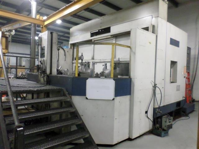 Machine 6226, Mori-Seiki MH1000, MSC-502 Control, 1999. Helical Interpolation, External Chip Conveyor, Coolant Thru Spindle, Hydraulics Thru Pallet, Synchronous Tapping Function, Full Enclosure