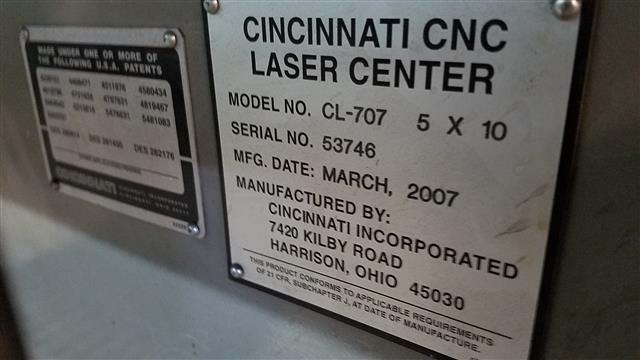 Cincinnati CL-707 Laser, Machine:6594, image:1