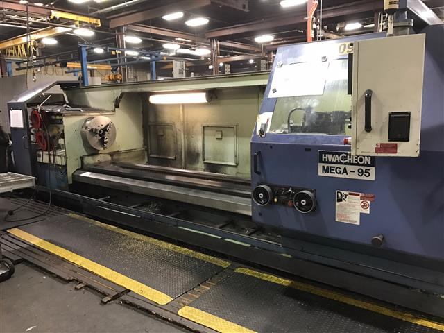 "Machine 6623, HWACHEON MEGA-95 CNC GAP BED TURNING CENTER, Fanuc 21TB CNC Control w/CRT, 12 Postition Turret, 6.1"" Spindle Bore, 3-Jaw Chuck,  (3) Speed Gearbox for Spindle, 48"" Swing in Gap,Tailstock, 3 Steady Rests"