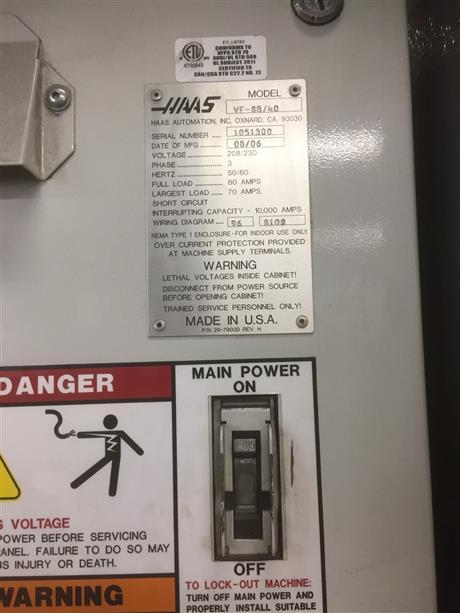 haas vf-8b/40, machine:6941, image:8  haas vf8 40 taper cnc vertical  machining center - 2